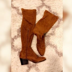 Cognac colored thigh high boots